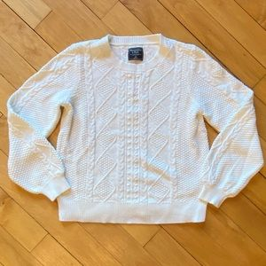 Abercrombie Off White Puff Sleeve Cable Knit Crew